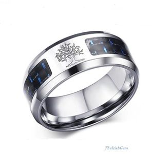 Other - Men's Stainless & Carbon Fiber Tree of Life Ring